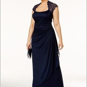 Floor Length Navy Rouched Gown with Lace Back